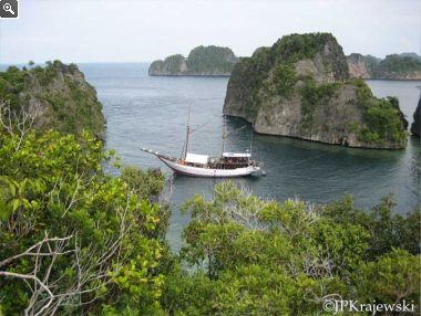Putiraja Diving Liveaboard mooring in Raja Ampat Cove
