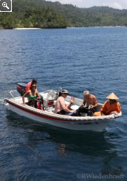 Scuba dinghy heading to dive site